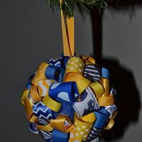 WVU Mountaineers Ribbon Topiary-style Ornament - Great for the Holidays or showing Team Spirit!
