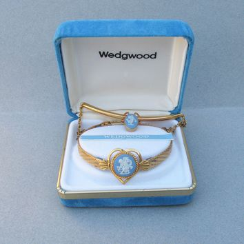 NEW In Box Vintage Signed WEDGWOOD Blue Jasperware Gold Filled Mesh Bracelet & Van Dell Necklace Set
