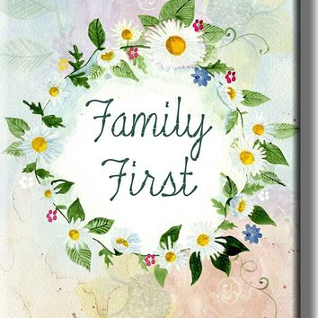 Family First Sign Picture on Acrylic , Wall Art Décor, Ready to Hang!