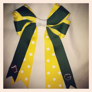 Green Bay Packers Inspired Football Bow