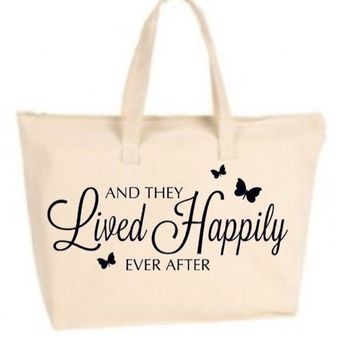 They Lived Happily Ever After Large Tote Bag with zipper closure - Bride to Be, Newlywed, Bridal, Wedding, Shower, Bachelorette Party Gift