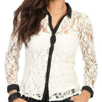 Antique Lace Contrast Shirt | Shop Tops at Wet Seal