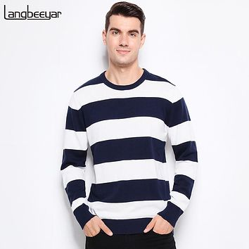 Autumn Winter Clothing Men Knitted Sweater Thick Stripes Slim Fit Pullover Men Cotton O-Neck Sweaters For Men