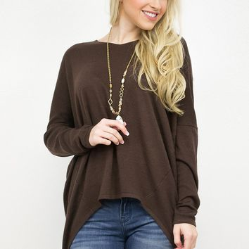 V- Neck Dolman Knit Sweater Top/ Burlwood