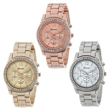 Fashion Dress Watches Women Men Faux Chronograph Quartz Plated Classic Round Crystals Watch relogio masculino Casual Clock
