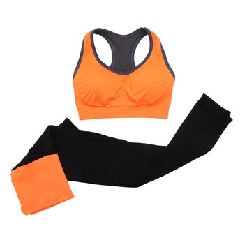 2016 Women Fitness Suit Workout Clothes Women Set Wirefree Patchwork Padded Bra + Elastic Trousers Suit V2