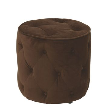 Office Star Chocolate Curves Tufted Round Ottoman
