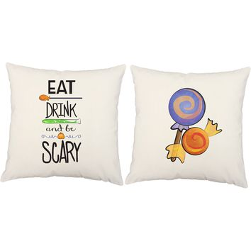 Eat Drink and Be Scary Halloween Throw Pillows