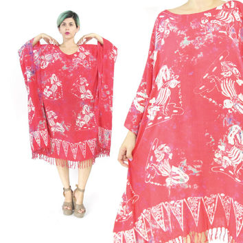Vintage Caftan Dress Batik Dress Hawaiian Dress Hula Girls Novelty Print Dress Slouchy Plus Size Kaftan Dress Boho Fringe Beach Dress (L/XL)