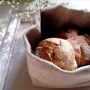 Bread Basket of Natural Unbleached Linen.Handmade & Lined. Peaceful Country Kitchen.Washable and Hard Wearing