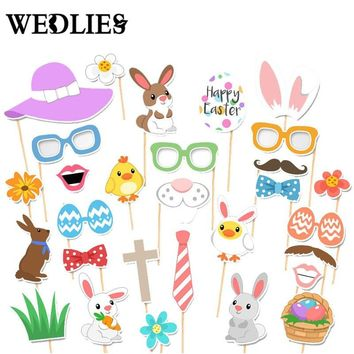 29Pcs/lot Photo Booth Props Fun Easter Mask DIY Eggs Bunny Ears On A Stick Photobooth Kids Party Decoration Centerpieces
