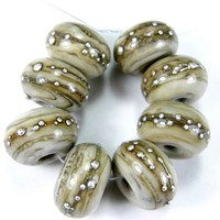 Lampwork Beads Shiny Opaque Fossil Ivory Handmade Glass Silver 683gfs