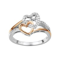 Two Hearts Forever One Diamond Accent Sterling Silver Two Tone Double Heart Ring (White)
