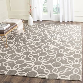 Safavieh Cedar Brook Collection CDR229D Handmade Grey and Ivory Cotton Area Rug, 5 feet by 8 feet (5' x 8')