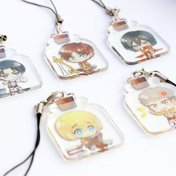 Levi, Eren, Mikasa, Armin, Jean - Shingeki no Kyojin Hand-Drawn Double Sided Front & Back Anime Acrylic Charms with Phone Strap