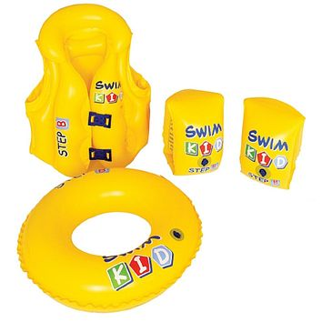 Set of 4 Yellow Inflatable Swim Kid Children's Swimming Pool Float Learning 20""