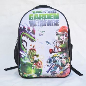 Girls bookbag Plants vs Zombies Backpack Children Schoolbag Boy Girl Mochila Prints with Ear Phone Hole Design Front PU Leather Bookbag AT_52_3