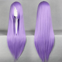 Cool Christmas Saint Seiya Athena Saori Kido 80cm Long Straight Light Purple Synthetic Wig,Colorful Candy Colored synthetic Hair Extension Hair piece 1pcs WIG-001C