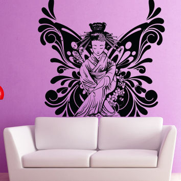 Vinyl Wall Decal Sticker Butterfly Geisha #1369