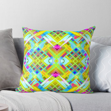 'Colorful digital art splashing G471' Throw Pillow by MEDUSA GraphicART