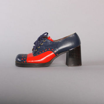 70s 2-Tone Chunky Heel OXFORDS /  Navy Blue & Red Spectator HEELS, 8.5-9
