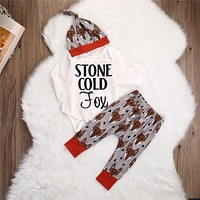 3PCS Baby Fox Clothes Autumn Fashion Sets Long Sleeve Letter Bodysuit And Printing Casual Pants Hats 3PCS Newborn Baby Set