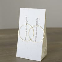 Gold Hoop + Silver Chain Earrings