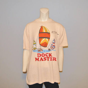Vintage 1980's Dock Master St. Croix Sailboat T-Shirt US Virgin Islands Size Large Peach Tshirt Retro Tee Vacation Tourist Shirt