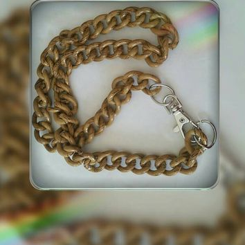 Brown Wood Grain Aluminum Chunky Chain Necklace 24 Inches