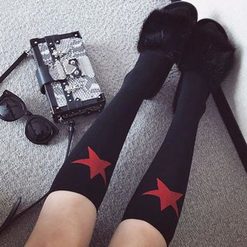 DCCKH3L Autumn Winter Women Trend Fashion All-match Pentagram Middle Knee Socks