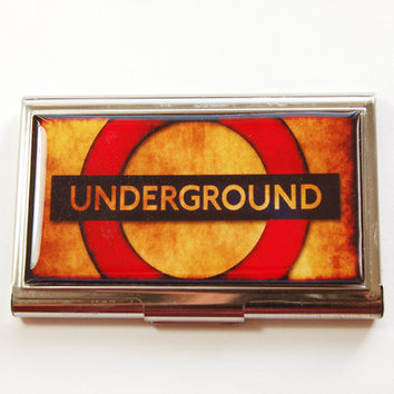 Underground card case, Business Card Case, Card case, business card holder, London Underground, Underground sign, Britain (3194)