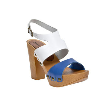 Leather platform bicolor sandal in pine with ankle strap