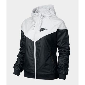 """NIKE"" Stylish Women Men Loose Zipper Hoodie Cardigan Sweatshirt Jacket Coat Windbreaker Sportswear White upper&Black under I"