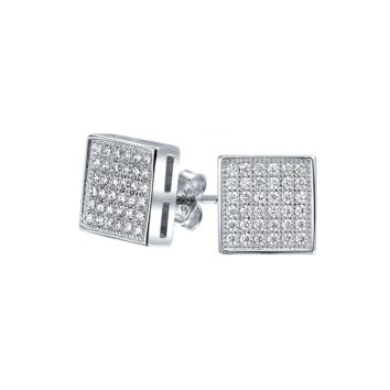 Square Cubic Zirconia Micro Pave Stud Earrings 925 Sterling Silver
