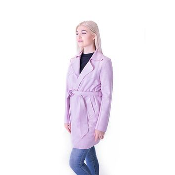 Faux Suede Short Trench Soft Lavender
