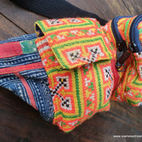 Ethnic Belt Bag Unisex Hip Bag In Vintage Yellow Hmong Cotton Embroidery and Indigo Batik