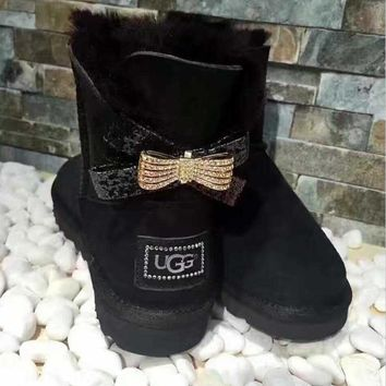UGG Hot style wool queen diamond bow ultra female beauty with thick warm ugg boots two style Black two bowknot