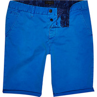 River Island MensBlue slim chino shorts