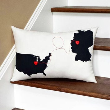 Love Connection Country to Country Custom Throw Pillow, Decorative Pillow,Dorm Decor, Foreign Exchange Gift, Friendship, Personalized Pillow