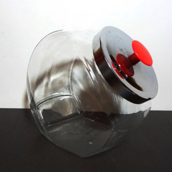Vintage Large Clear Glass Candy Jar/Canister with Metal Lid and Red Knob