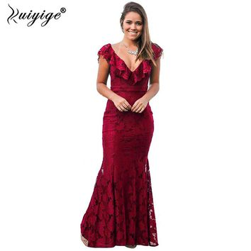Ruiyige 2018 Women Sexy Solid Lace Backless Maxi Dress Summer Party V-Neck Hollow Out Vestidos Long Elegant Tunic Mermaid Robes