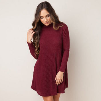 Womens High-Quality Cozy Plain Long Sleeve Knited Dress With Pocket Autumn and Winter Gift +Free Gift Christmas Gold Necklace