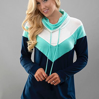 Simple Saturday Cowl Neck Top - Mint and Navy