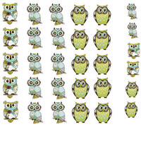 Owl Nail Decals 42 per Purchase by PineGalaxy on Etsy