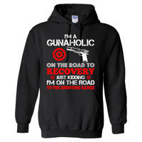 I'M A Gunaholic On The Way To Recovery Just Kidding I'M On The Road To The Shooting Range - Heavy Blend™ Hooded Sweatshirt