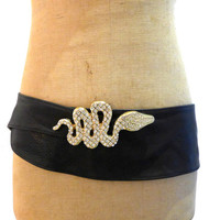Vintage New Zealand designer Re-Launch black kid leather wide belt with diamante gold snake buckle