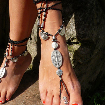 Black ETHNIC BAREFOOT SANDALS foot jewelry hippie sandals Toe Ring Anklet Crochet barefoot tribal sandals Slave Bracelet yogawedding