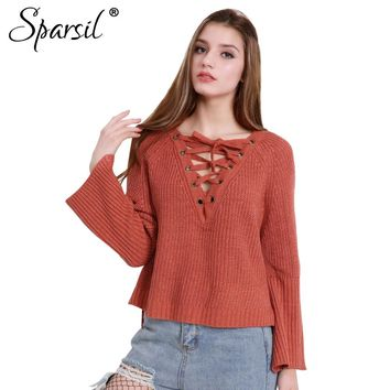 Spasril Women Lace Up Knitted Sweater Drawstring Big V-Neck Flared Cuff Split Hem Pullovers Sexy Plus Size Loose Casual Knitwear