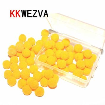 KKWEZVA 1cm/100pcs Fly fishing flies mimic fish eggs yellow trout bait floating plush balls Eggs Fishing lures