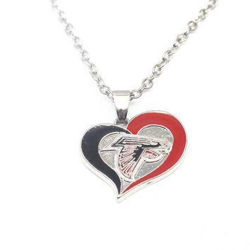 1pcs/lot Heart Enamel Atlanta Falcons Pendant Necklace With 50cm Chains Necklace For Women Necklace Jewelry
